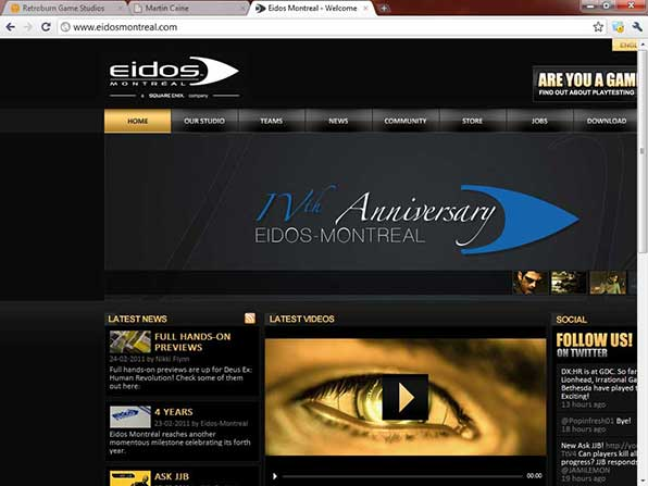 The Eidos Montreal website viewed at 1024x768