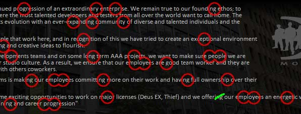 The missing pixels (and spelling mistake) on Eidos Montreal's website