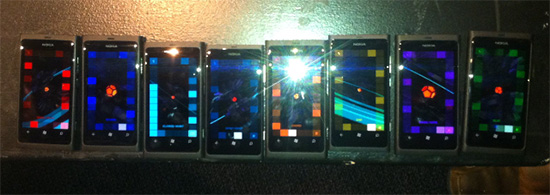 8 Nokia Lumia 800s running Vequencer in a shared composition