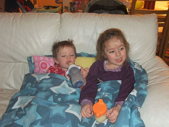 Vaughan and Willow with Chicken Pox