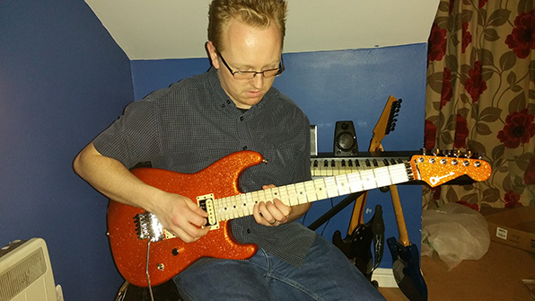 Having a quick play on my Charvel Pro Mod Super Stock SD1-FR (Orange Flake)